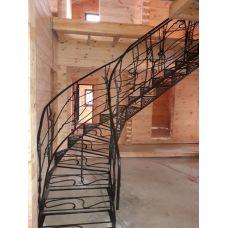 Лестница без несущего каркаса с перилами