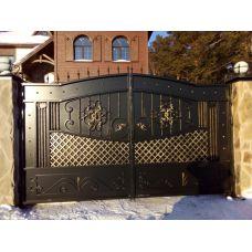 Металлические ворота и калитка с художественной ковкой