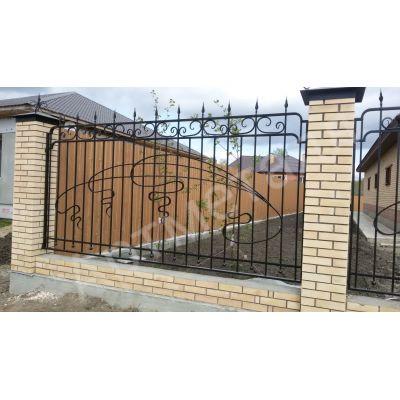 Забор прутковый с художественной ковкой